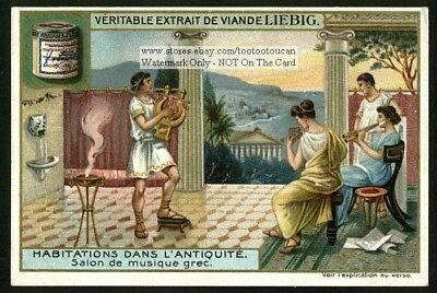 Music Room In An Ancient Greek House NICE c1905 Trade Ad Card