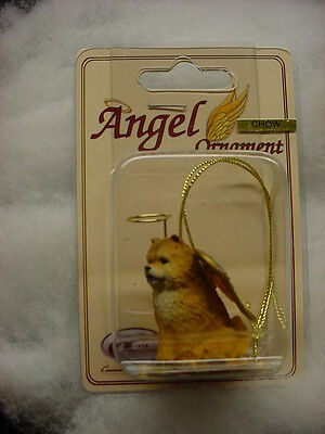 CHOW red DOG ANGEL Ornament HAND PAINTED Resin FIGURINE Christmas COLLECTIBLE