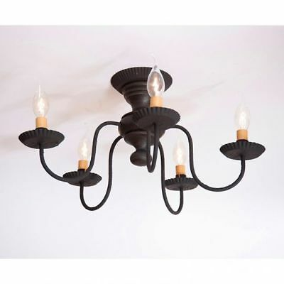 Country Primitive Farmhouse THORNDALE Wooden CEILING LIGHT in Americana BLACK