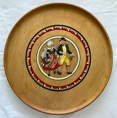 """Swedish Plate Hand Carved Wood & Painted Couple Folk Art Costumes 13.5"""" Platter"""