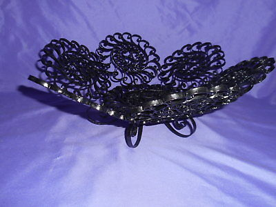 Vintage Art Nouveau Black Metal Compote Bowl Pedestal Made In Spain