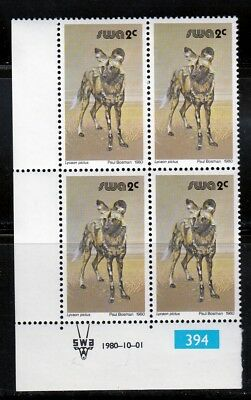Wild Dog MNH Block of 4, with Control Number, SWA Sc 448