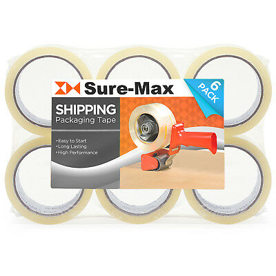 """6 Rolls Clear Box Sealing Packing Tape Shipping - 2 mil 2"""" x 55 Yards (165')"""