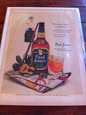 Vintage 1953 Paul Jones Whiskey Famous Brands Rounded Up Art ad