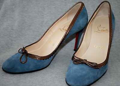e9f378df876 LOUBOUTIN Blue Suede Leather Heel Pumps Shoes - made in Italy (37 EU) 6.5