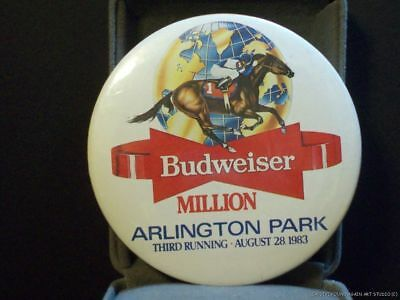 Vintage Budweiser Million Arlington Park IL Horse Race Pin 1983 Bud Beer Pinback