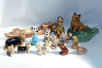14 Wade Items, Barge, Set Yorkshire Terriers, Whimsies, Huckleberry Hound, Etc.