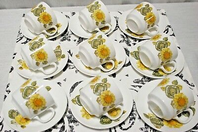 LOT of 9 Johnson Bros Cup and Saucer SETS, Sunflower, green leaves, Exc +