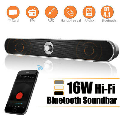 16W Wireless HiFi Bluetooth Soundbar Speaker Bass Stereo Subwoofer AUX Theater
