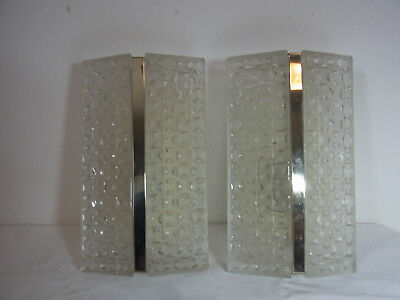 Pair Mid Century Chrome and Structured Ice Glass Sconces #<