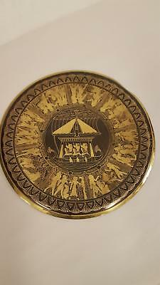 """Vintage Egyptian ETCHED Brass Hanging Plate Wall Plaque ANCIENT EGYPT 9.75"""""""