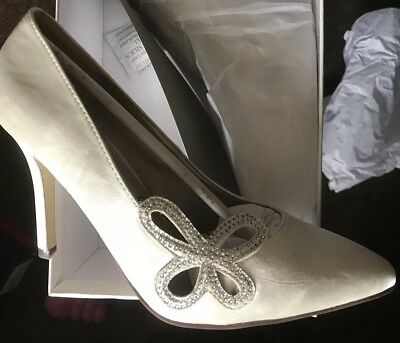 Anne Michelle Bridal Bride Wedding Shoes Ivory Butterfly Diamonte Detail Size 6
