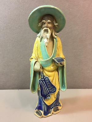 """Chinese Mudmen Mud Man Mudman Figure 1890-1919 With Fan and Book 6.25"""""""