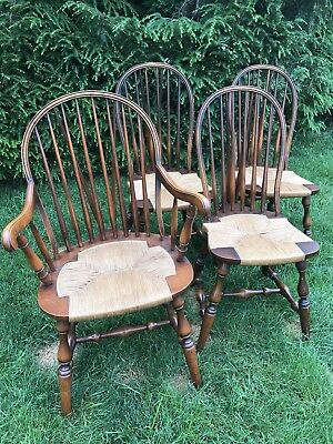 Set of 4 B&S Co Antique Windsor Chairs Rush Seats Captain & 3 Side Chairs PICKUP