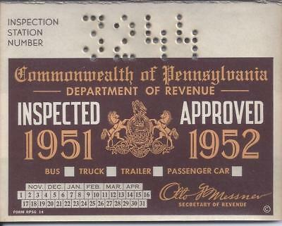 USED PENNSYLVANIA CAR Truck Bus Inspection Sticker 1950