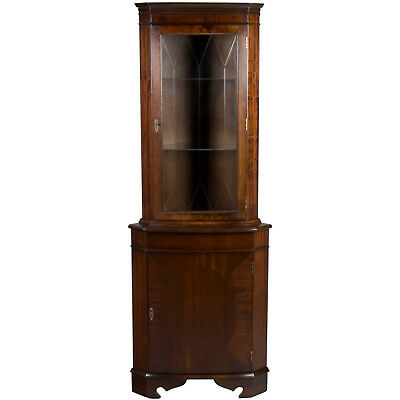 Antique Style Mahogany Bow Front Corner Cabinet Cupboard Hutch Etched Glass FS!