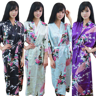 NEW Bridesmaid Peacock Long Kimono Robe Wedding Women Satin Silk Sleepwear-01^