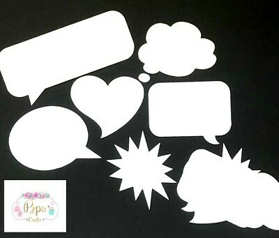 50 x Speech Bubble White Card Die Cuts - Toppers Card Making Scrapbooking Crafts