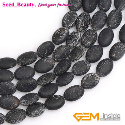 """Matte Frosted Oval Natural Black Agate Stone Beads for Jewelry Making Stand 15"""""""