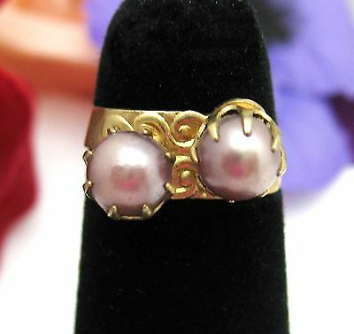 Pair LIGHT PURPLE Faux Pearl Beads RING Vintage LAVENDER Goldtone Adjustable
