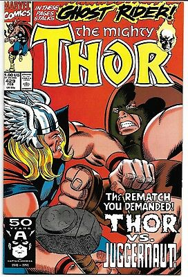 The Mighty Thor #429 Nm- 1991 Thor Vs Juggernaut Ghost Rider App Marvel Comics