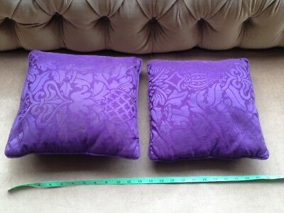Pair Antique 19Th Century Purple Damask Material Cushions Rare Fabric Rrp: £80