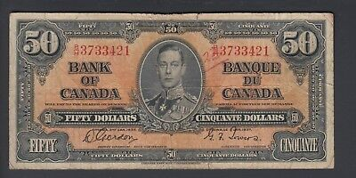 1937  $50 Dollars - Gordon Towers - Prefix B/H - Bank of Canada - D991