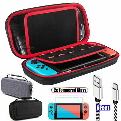Accessories Case Bag+2M Charging Cable+2 Pack Tempered Glass for Nintendo Switch