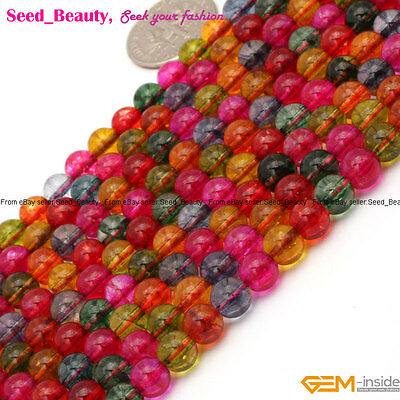 """Round 6mm Multi-Color Glass Gemstone Fashion Jewelry Making Loose Beads 15"""""""