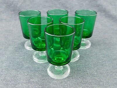 """Set of 6 Cristal d'Arques Durand Luminarc 3"""" Forest Green Footed Tumblers HTF"""