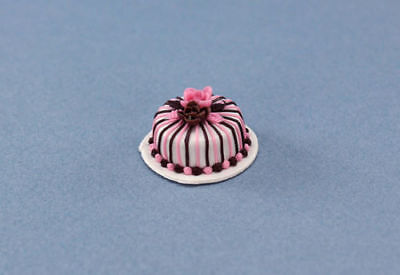 Dollhouse Miniature Beautifully Decorated Bakery Cake with Frosting Roses #SP42