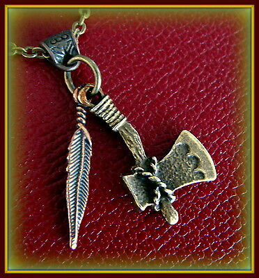 INDIAN style Tomahawk and Feather Necklace PENDANT Jewelry