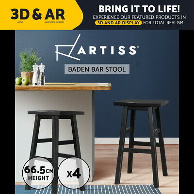 Artiss 4x BADEN Wood Bar Stools Stool Dining Chairs Kitchen Cafe Black Barstools