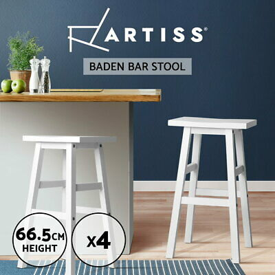 4x BADEN Wooden Bar Stool Dining Barstool Chairs Kitchen Bistro Cafe White