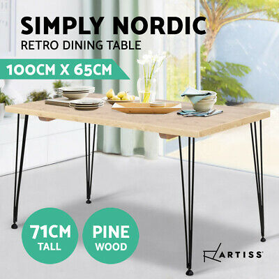 Artiss 4 Seater Dining Table Wood Industrial Scandinavian Timber Metal Leg Black