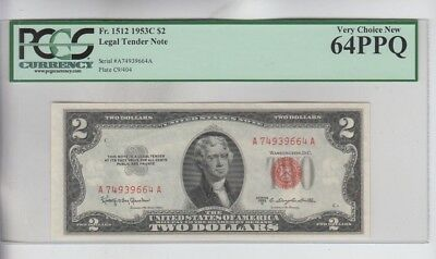Legal Tender $2 Red Seal 1953-C PCGS graded very choice new 64PPQ