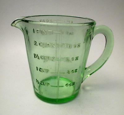 Green Depression Glass Jug Vintage Kitchenalia Measuring 1 Pint