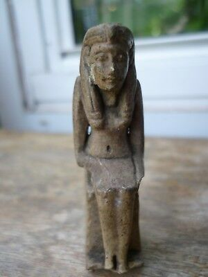 Unidentified 65Mm Clay Statue Of Egyptian God / Ruler Old Label On Base