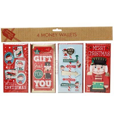 Pack of 4 Christmas money wallets xmas card