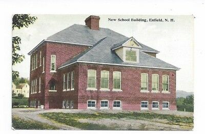 NH Enfield New Hampshire antique post card New School Building