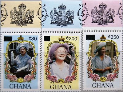 GHANA 1989 1344-5 1347 British Royal Family Royals Queen Mother new currency MNH