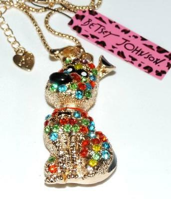 """Betsey Johnson Multi Crystal Goldtone Great Dane Puppy Necklace  28"""" Link Chain"""