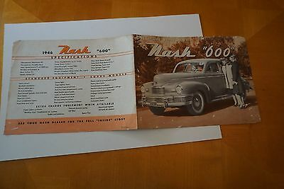 "1946 Nash ""600"" Fold-Out Brochure 2 Pages VG Silverfish Edge Damage GOOD"