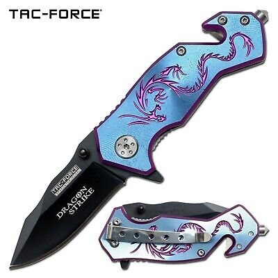 Tac-Force Blue Dragon Straight Assisted Rescue Knife w/ Glass Breaker TF-686BL