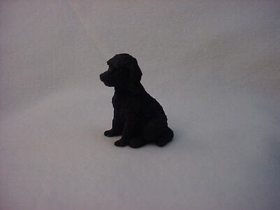 LABRADOODLE black puppy TiNY Dog HAND PAINTED FIGURINE Lab Doodle MINIATURE Mini