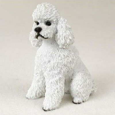 WHITE POODLE dog HAND PAINTED COLLECTIBLE puppy FIGURINE resin Statue Sport cut