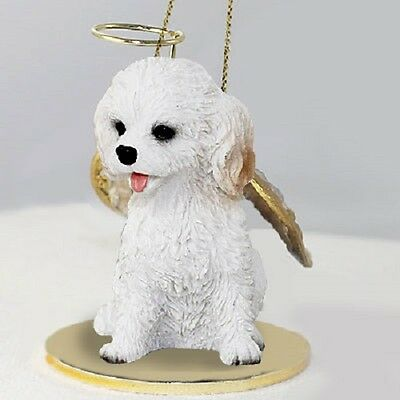 WHITE COCKAPOO dog ANGEL Ornament Resin HAND PAINTED FIGURINE Christmas puppy