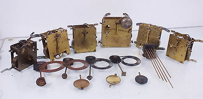 Job Lot of 6 Vintage Mantle Clock Movements - sold for spares or repair (A)