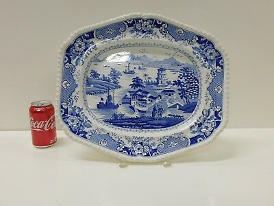 Rare ANTIQUE India Temple R Ridgways Blue Staffordshire Transferware Platter