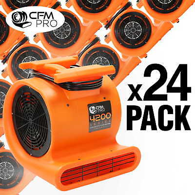 Air Mover 3 Speed 1 HP Blower Fan - Stackable - Industrial - Orange (24 Pack)